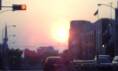井の頭通りの夕日